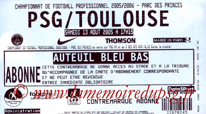 Tickets  PSG-Toulouse  2005-06