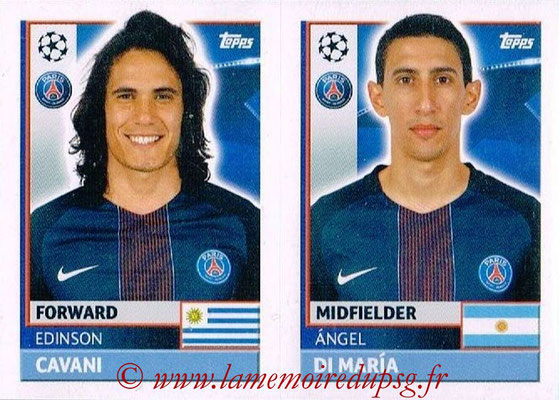 2016-17 - Topps UEFA Champions League Stickers - N° PSG 18-19 - Angel DI MARIA + Edison CAVANI (Paris Saint-Germain)