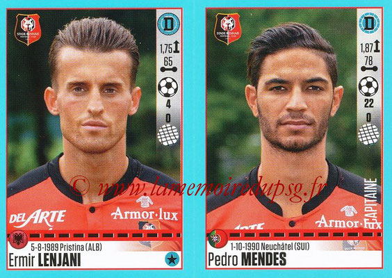 2016-17 - Panini Ligue 1 Stickers - N° 740 + 741 - Ermir LENJANI + Pedro MENDES (Rennes)
