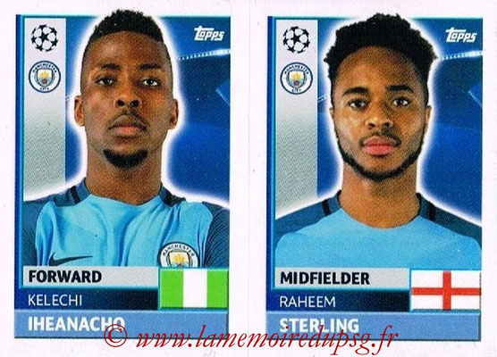 2016-17 - Topps UEFA Champions League Stickers - N° QFG 13-14 - Raheem STERLING + Kelechi IHEANACHO (Manchester City FC)
