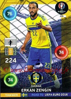 Panini Road to Euro 2016 Cards - N° 219 - Erkan ZENGIN (Suède)