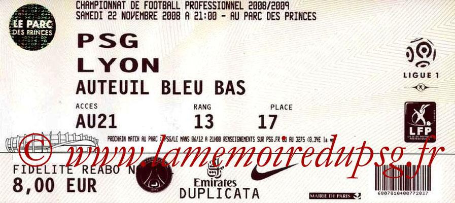 Tickets  PSG-Lyon  2008-09