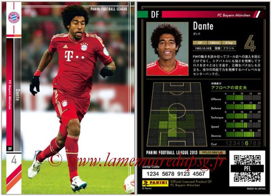 Panini Football League 2013 - PFL03 - N° 089 - Dante (Bayern Munich)
