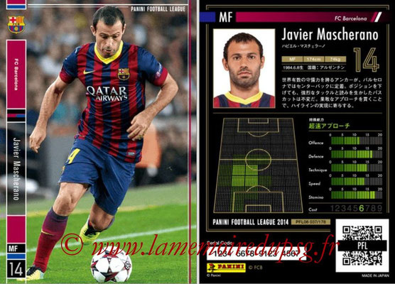 Panini Football League 2014 - PFL08 - N° 037 - Javier MASCHERANO (FC Barcelone)