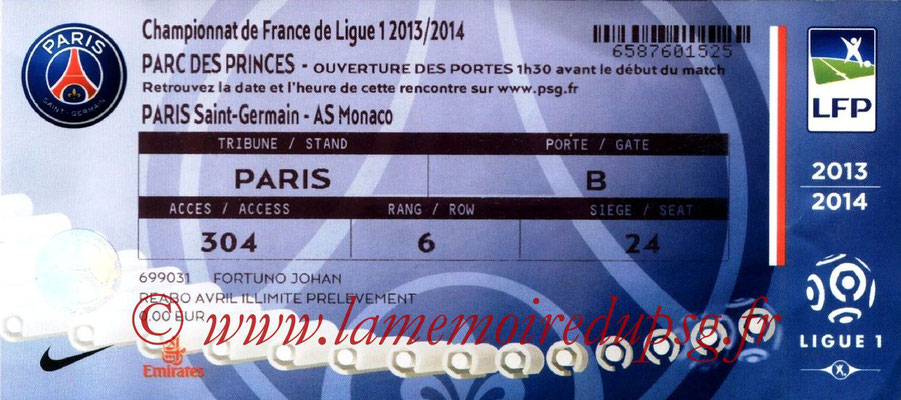 Tickets  PSG-Monaco  2013-14
