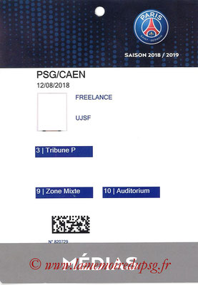 Badge Presse  PSG-Caen  2018-19