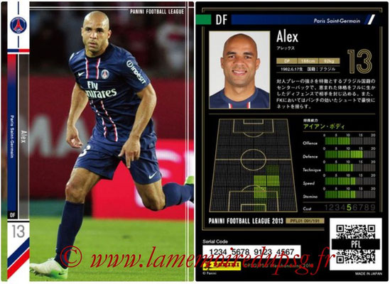 Panini Football League 2013 - PFL01 - N° 091 - Alex ( Paris Saint-Germain )