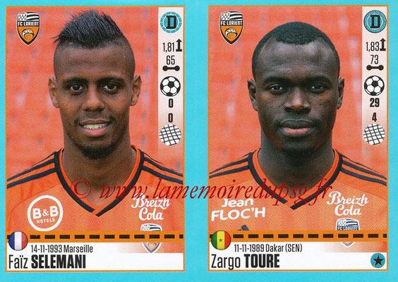 2016-17 - Panini Ligue 1 Stickers - N° 322 + 323 - Faiz SELEMANI + Zargo TOURE (Lorient)