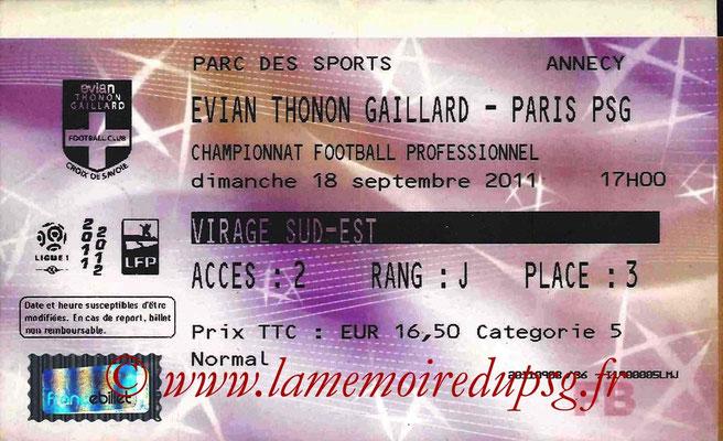 Tickets Evian-PSG  2011-12