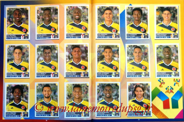 Panini Copa America Chile 2015 Stickers - Pages 32 et 33 - Colombie