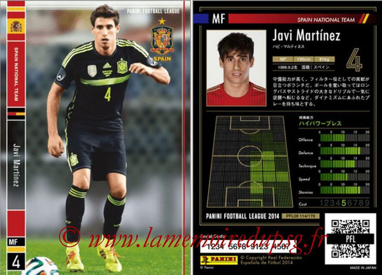 Panini Football League 2014 - PFL08 - N° 114 - Javi MARTINEZ (Espagne)