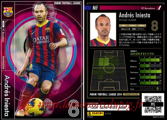 Panini Football League 2014 - PFL08 - N° 171 - Andrés INIESTA (FC Barcelone) (Fantasista)