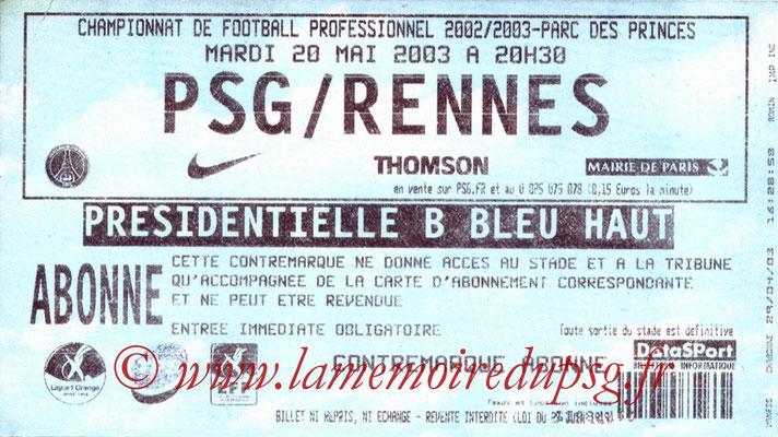 Tickets  PSG-Rennes  2002-03