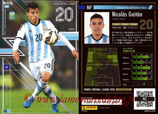 Panini Football League 2015 - PFL13 - N° 094 - Nicolas GAITAN (Argentine) (Star)