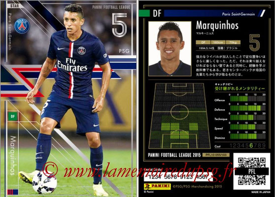 Panini Football League 2015 - PFL10 - N° 055 - MARQUINHOS (Paris Saint-Germain) (Star)