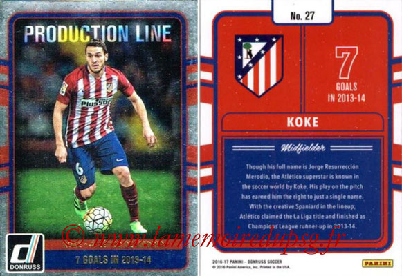 2016 - Panini Donruss Cards - N° PL27 - KOKE (Atletico de Madrid) (Production Line)