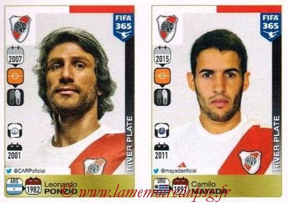 2015-16 - Panini FIFA 365 Stickers - N° 110-111 - Leonardo PONZIO + Camilo MAYADA (River Plate)