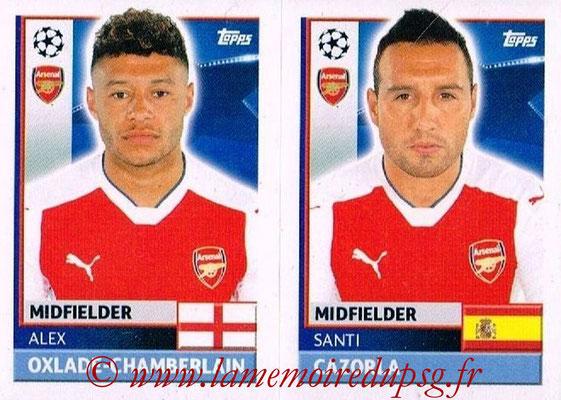 2016-17 - Topps UEFA Champions League Stickers - N° ARL 14-15 - Santi CAZORLA + Alex OXLADE-CHAMBERLAIN (Arsenal FC)