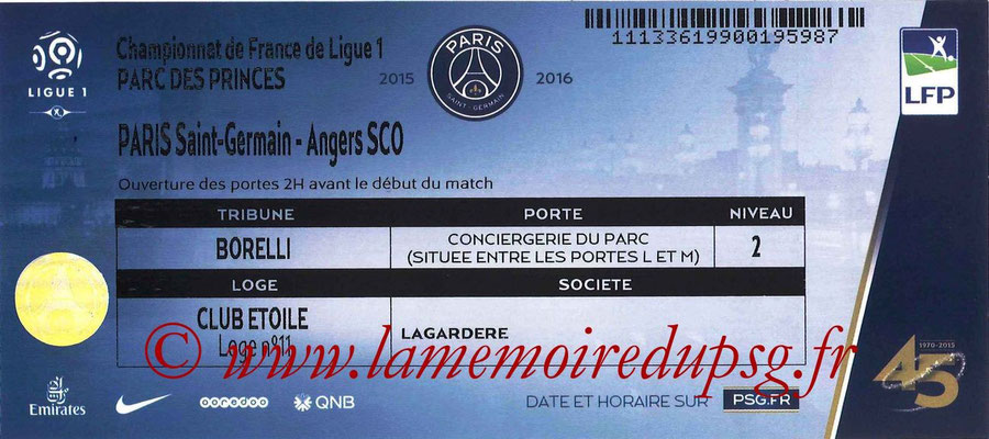 Tickets  PSG-Angers  2015-16