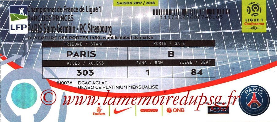 Tickets  PSG-Strasbourg  2017-18