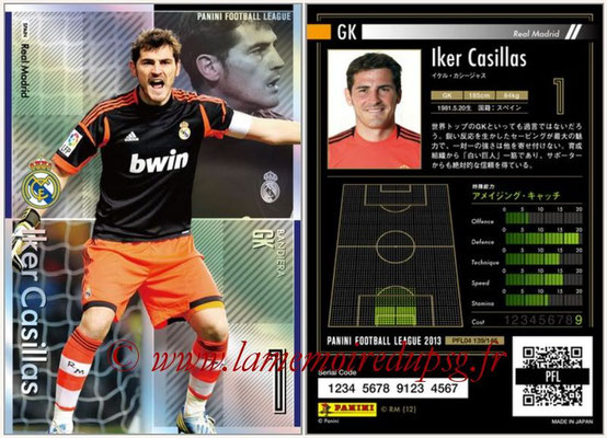 Panini Football League 2013 - PFL04 - N° 139 - Iker CASILLAS (Real Madrid) (Bandiera)