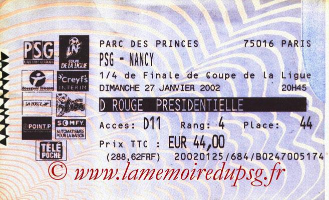 Tickets  PSG-Nancy  2001-02