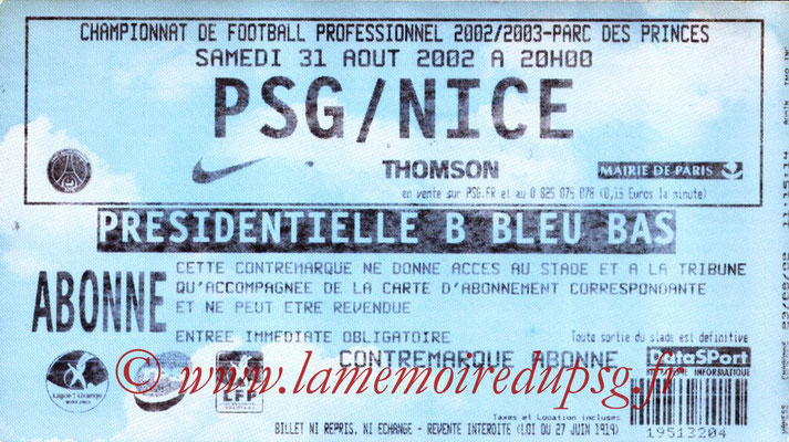 Tickets  PSG-Nice  2002-03