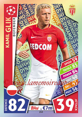 2017-18 - Topps UEFA Champions League Match Attax - N° 240 - Kamil GLIK (AS Monaco) (Defensive Dynamo)