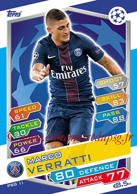 2016-17 - Topps UEFA Champions League Match Attax - N° PSG11 - Marco VERRATTI (Paris Saint-Germain)