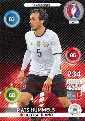 Panini Euro 2016 Cards - N° 068 - Mats HUMMELS (Allemagne)