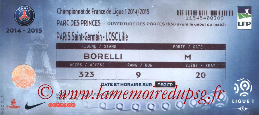 Tickets  PSG-Lille  2014-15