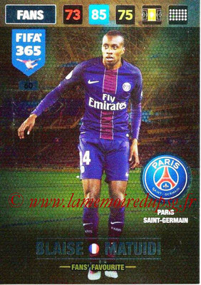 2016-17 - Panini Adrenalyn XL FIFA 365 - N° 060 - Blaide MATUIDI (Paris Saint-Germain) (Fans' Favourite)