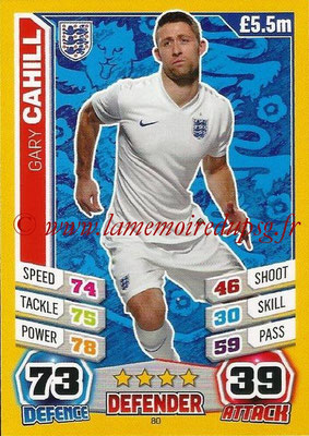 Topps Match Attax England 2014 - N° 080 - Gary CAHILL (Angleterre)