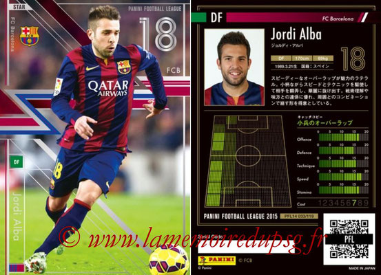Panini Football League 2015 - PFL14 - N° 033 - Jordi ALBA (FC Barcelone) (Star)