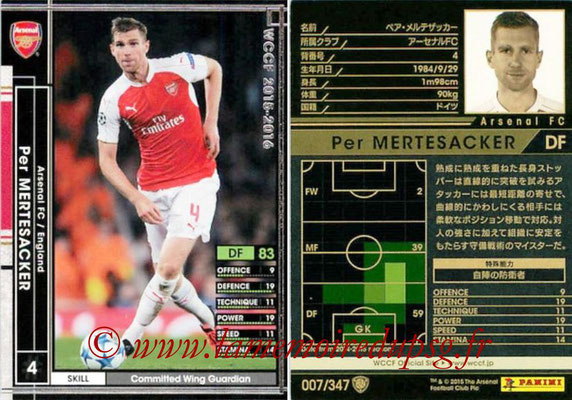 2015-16 - Panini WCCF - N° 007 - Per MERTESACKER (Arsenal FC)