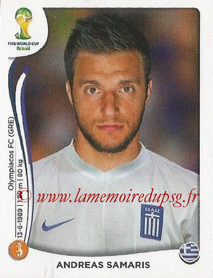 2014 - Panini FIFA World Cup Brazil Stickers - N° 212 - Andreas SAMARIS (Grèce)