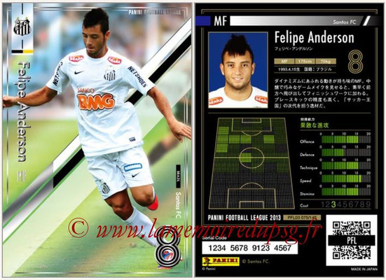 Panini Football League 2013 - PFL03 - N° 075 - Felipe Anderson (FC Santos)