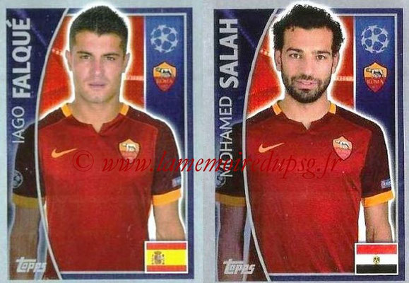 2015-16 - Topps UEFA Champions League Stickers - N° 349 - Iago FALQUÉ + Mohamed SALAH (AS Roma)