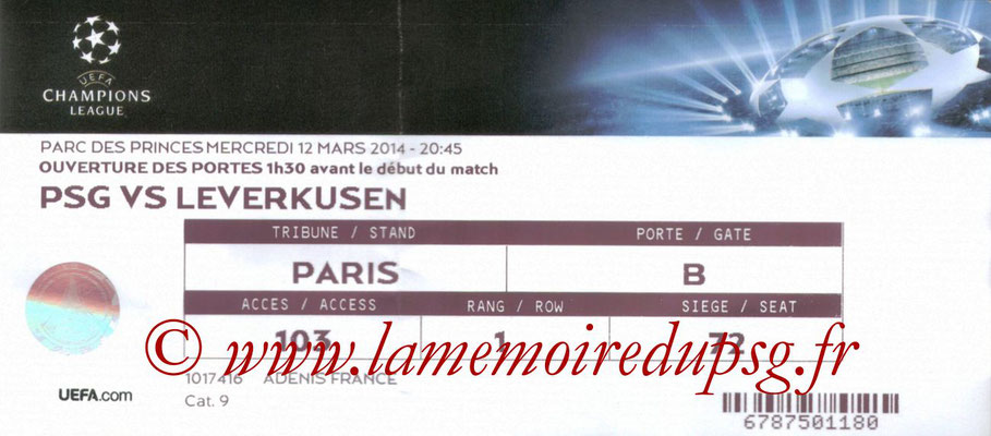 Tickets  PSG-Bayer Leverkusen  2013-14