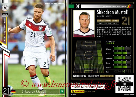 Panini Football League 2015 - PFL10 - N° 083 - Shkodran MUSTAFI (Allemagne)