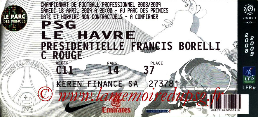 Tickets  PSG-Le Havre  2008-09