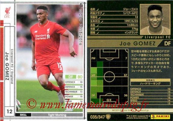 2015-16 - Panini WCCF - N° 035 - Joe GOMEZ (Liverpool FC)