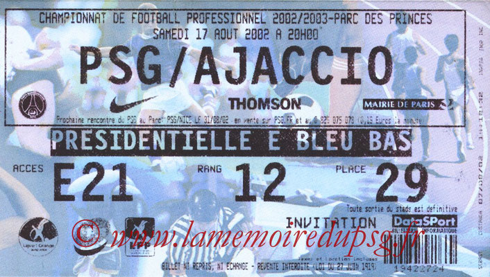 Tickets  PSG-Ajaccio  2002-03