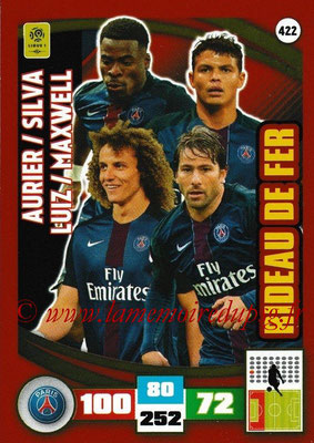 2016-17 - Panini Adrenalyn XL Ligue 1 - N° 422 - Serge AURIER + Thiago SILVA + David LUIZ + MAXWELL (Paris Saint-Germain) (Rideau de fer)