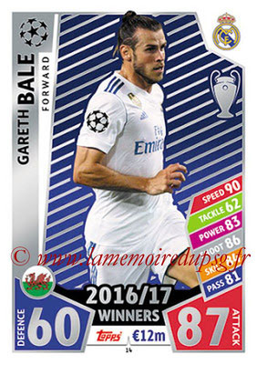 2017-18 - Topps UEFA Champions League Match Attax - N° 014 - Gareth BALE (Real Madrid CF)