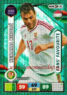 2018 - Panini Road to FIFA World Cup Russia Adrenalyn XL - N° HUN13 - Neman NIKOLIC (Hongrie) (Fans' Favourite)