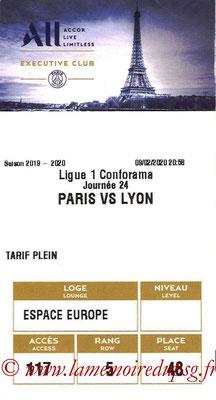 Tickets  PSG-Lyon  2019-20