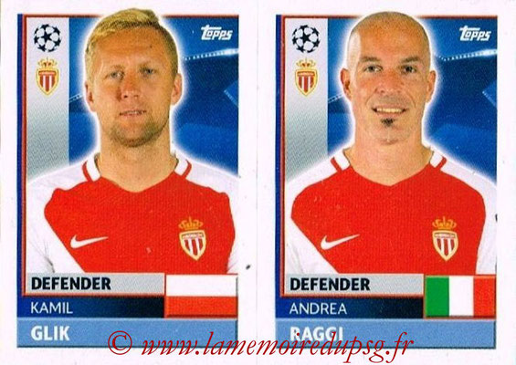 2016-17 - Topps UEFA Champions League Stickers - N° QFH 5-6 - Andrea RAGGI + Kamil GLIK (AS Monaco)