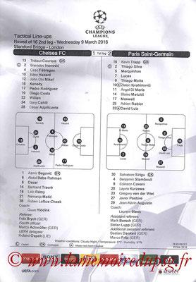 Feuille de match  Chelsea-PSG  2015-16