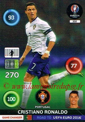 Panini Road to Euro 2016 Cards - N° 332 - Cristiano RONALDO (Portugal) (Game Changer)
